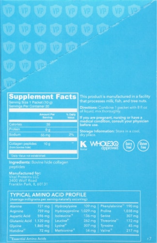 Vital Proteins Unflavored Collagen Peptides Packets 20 Count Perspective: right
