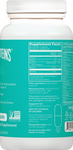 Vital Proteins Spirulina Capsules 650mg Perspective: right