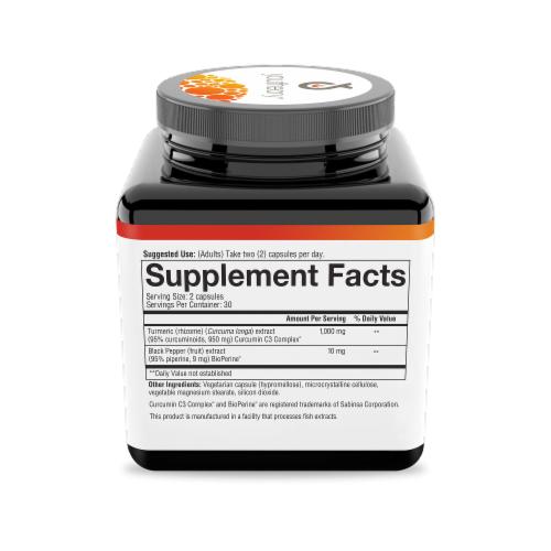 Youtheory Extra Strength Formula Turmeric Dietary Supplement Capsules Perspective: right