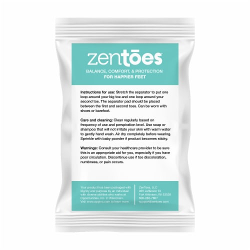 ZenToes Toe Separators with 2 Loops - Pack of 4 Soft Gel Bunion Correctors (White) Perspective: right