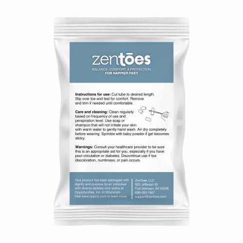 ZenToes Toe Caps Closed Toe Fabric Sleeve Protectors with Gel Lining - 5 Pack (Size Large) Perspective: right