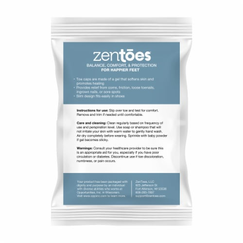 ZenToes 6 Pack Gel Toe Caps - Cushions and Protects Toes from Rubbing - (Small, White) Perspective: right