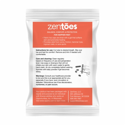 ZenToes Open Toe Tubes Fabric Gel Lined Sleeves Protect Corns, Blisters - 5 Pack (Large) Perspective: right