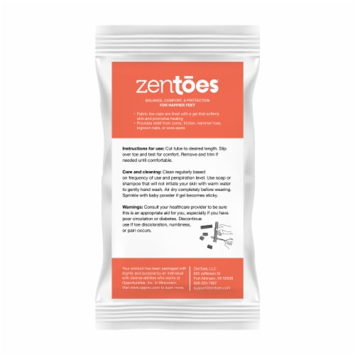 ZenToes Open Toe Tubes Fabric Gel Lined Sleeves Protect Corns, Blisters - 2 Pack (Large) Perspective: right