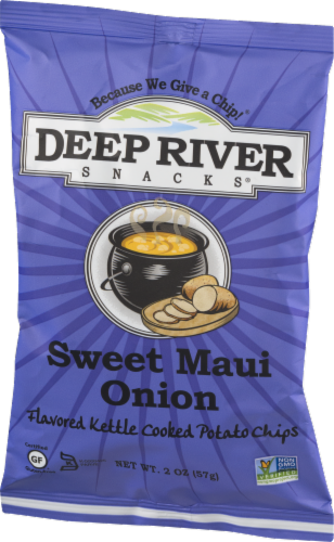 Deep River Snacks Sweet Maui Onion Kettle Cooked Potato Chips Perspective: right
