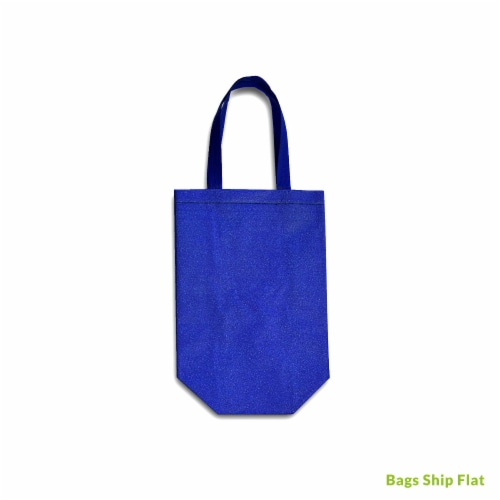 Small Blue Gift Bags with Handles, Reusable Tote, Glitter Metallic Bling Shimmer Perspective: right