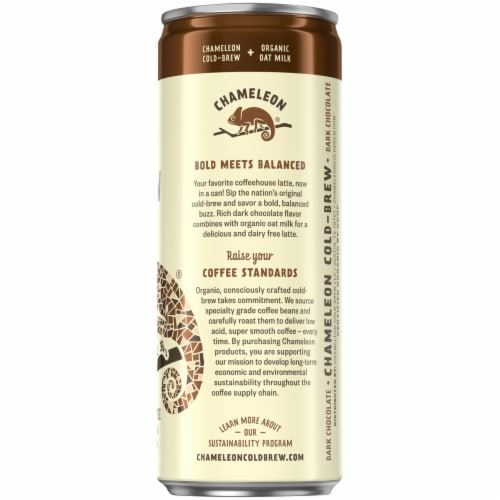 Chameleon Organic Dark Chocolate Flavored Oat Milk Latte Cold Brew Coffee Perspective: right