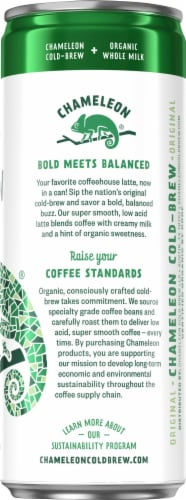 Chameleon Cold-Brew Organic Whole Milk Canned Latte Coffee Perspective: right