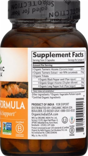 Organic India Turmeric Formula Veg Capsules Perspective: right