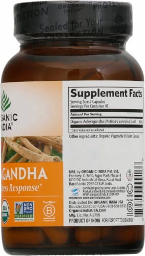 Organic India Ashwagandha Vegetarian Capsules 800mg Perspective: right