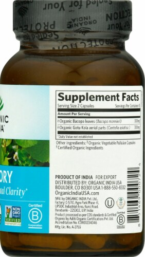 Organic India Memory Herbal Supplement Caps Perspective: right