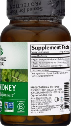 Organic India Liver Kidney Detoxify and Rejuvenate Vegetarian Capsules Perspective: right