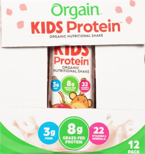 Orgain Kids Protein Organic Strawberry Nutritional Shakes Perspective: right
