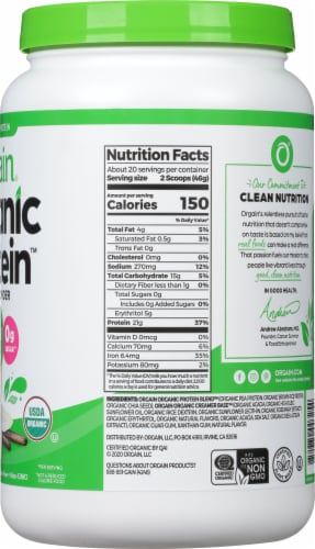 Orgain Organic Vanilla Bean Protein Powder Perspective: right