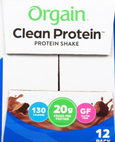 Orgain Clean Protein Grass Fed Creamy Chocolate Fudge Protein Shake Perspective: right