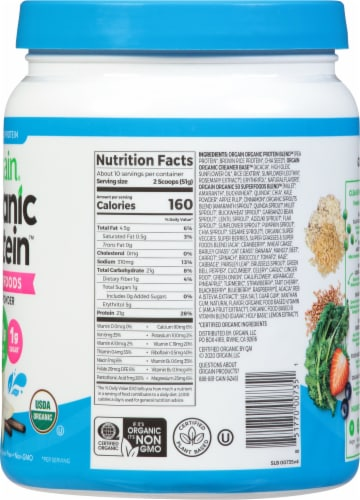 Orgain Organic Protein and Superfoods Plant Based Vanilla Bean Protein Powder Perspective: right