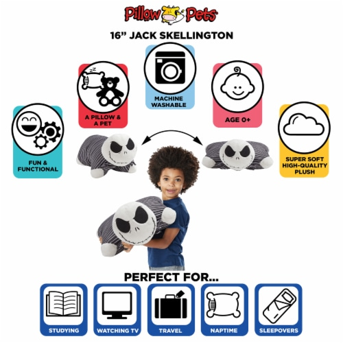 Pillow Pets Disney Jack Skellington Plush Toy - Black Perspective: right