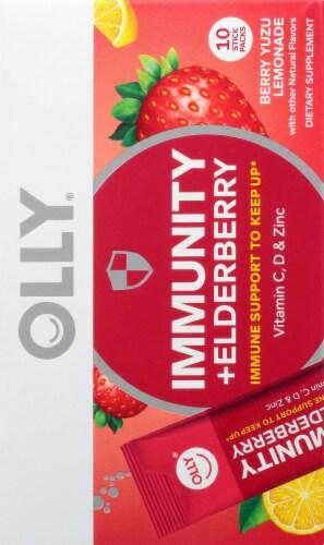 Olly Immunity + Elderberry Berry Yuzu Lemonade Powder Supplement Perspective: right