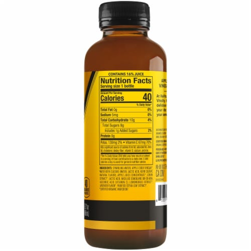 Kevita Apple Cider Vinegar Tonic Drink Meyer Lemon Perspective: right