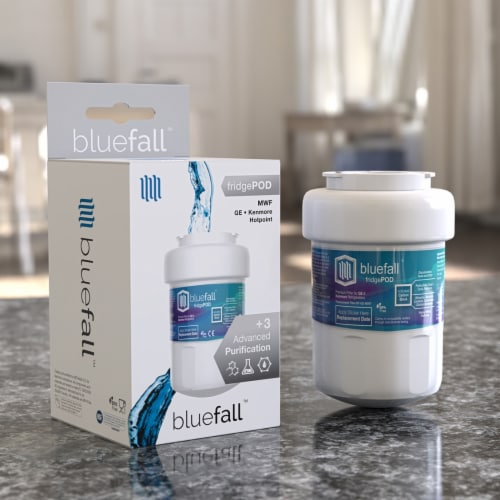 GE MWF 5PK Refrigerator Water Filter Compatible by BlueFall Perspective: right