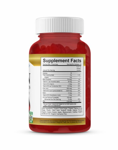 Vitamin Friends Adult Pectin Iron Gummies - Natural Strawberry Perspective: right