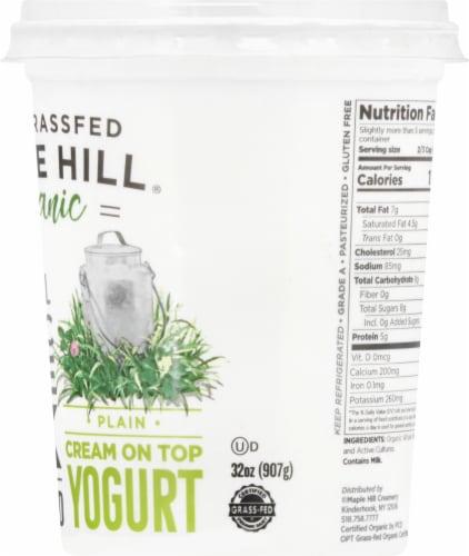 Maple Hill Creamery Organic 100% Grass-Fed Whole Milk Plain Yogurt Perspective: right