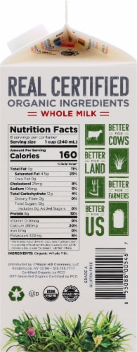 Maple Hill Organic 100% Grassfed Whole Milk Perspective: right