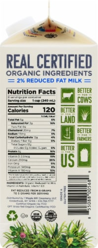 Maple Hill Organic 100% Grassfed Reduced Fat Milk Perspective: right