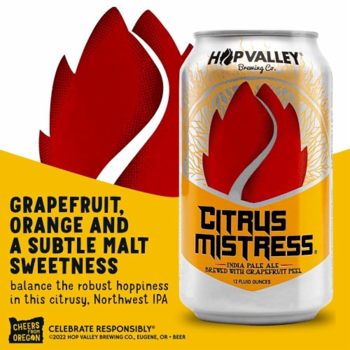 Hop Valley Citrus Mistress IPA Beer 6 Cans Perspective: right