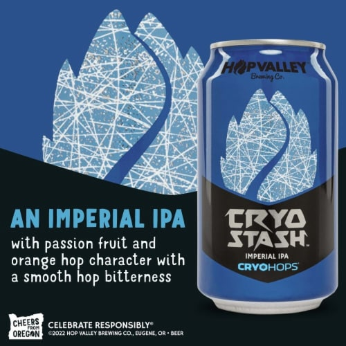 Hop Valley Brewing Co. Cryo Stash Imperial India Pale Ale Perspective: right