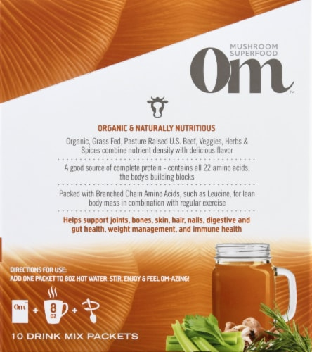 Om Mushroom Mighty Beef Bone Broth Packets 10 Count Perspective: right