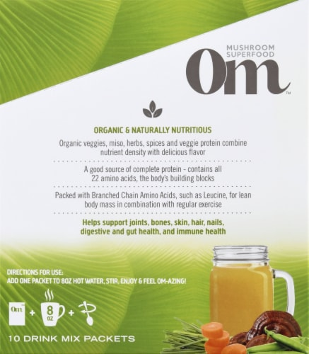 Om Mushroom Mighty Veggie Miso Broth Packets 10 Count Perspective: right