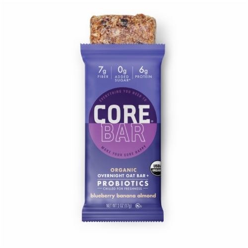 CORE Organic Refrigerated Plant-Based Protein Immunity Bar with Probiotics - Blueberry Banana Almond Perspective: right
