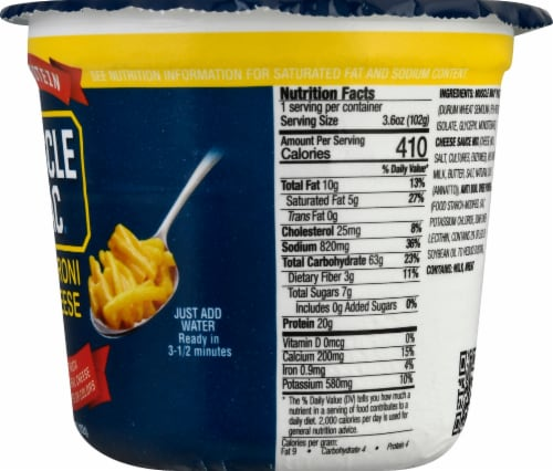 Muscle Mac Pro Original Cheddar Mac & Cheese Single Serve Cup Perspective: right