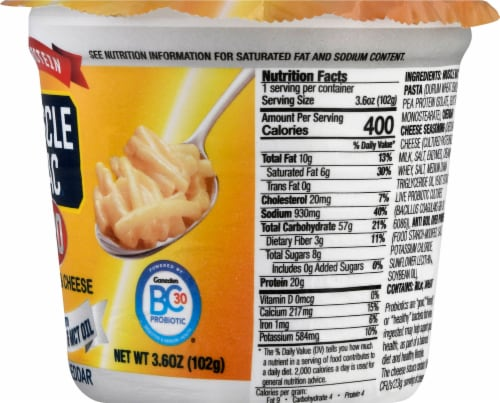 Muscle Mac Pro White Cheddar Macaroni & Cheese Single Serve Cup Perspective: right