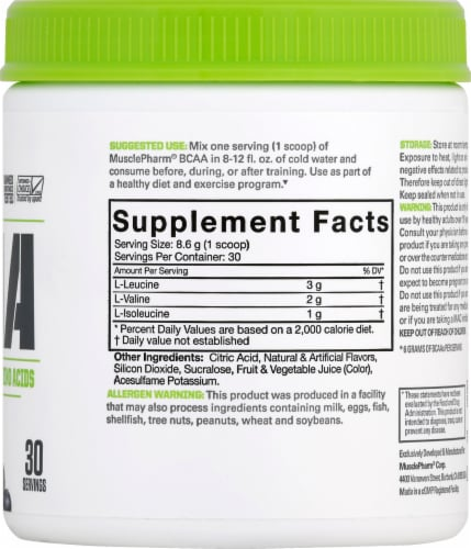 MusclePharm BCAA Essentials Powder Fruit Punch Perspective: right
