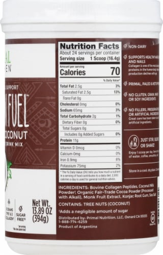 Primal Kitchen Collagen Fuel Chocolate Coconut Collagen Peptide Drink Mix Perspective: right