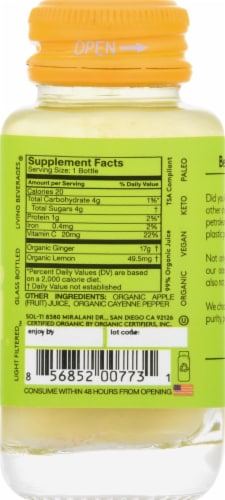 Sol-ti Ginger SuperShot Herbal Supplement Perspective: right