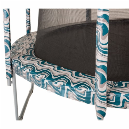 Round Trampoline Appearance Set, 16' Safety Pad with 12-pole Sleeve Covers - Maui Marble Perspective: right