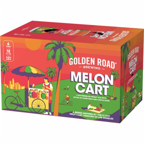 Golden Road Brewing Melon Cart Watermelon Wheat Ale Perspective: right