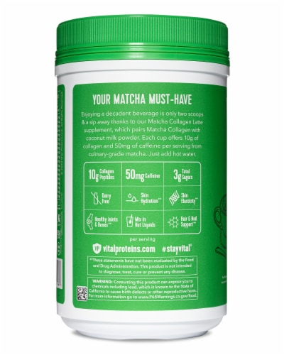 Vital Proteins Matcha Collagen Latte Supplement Perspective: right