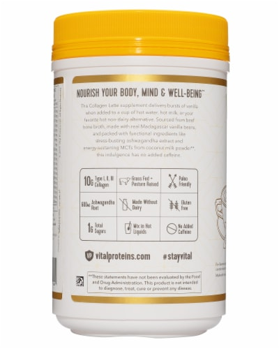 Vital Proteins Madagascar Vanilla Collagen Latte Supplement Perspective: right