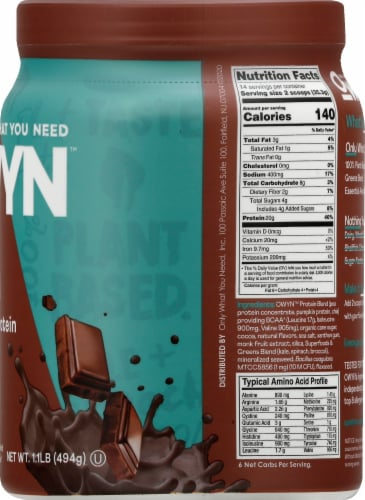 OWYN Dark Chocolate Ultimate Wellness Plant Protein Perspective: right