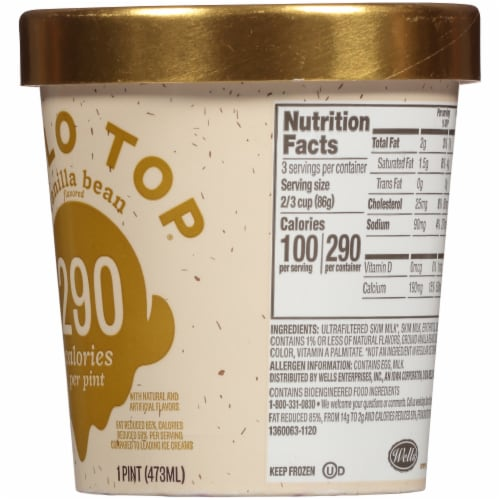 Halo Top Vanilla Bean Light Ice Cream Perspective: right