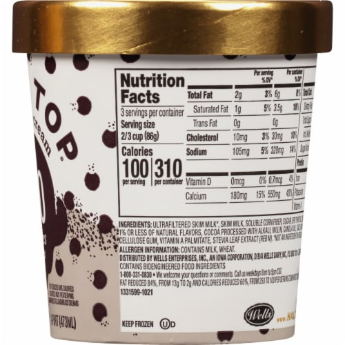 Halo Top Cookies & Cream Light Ice Cream Perspective: right