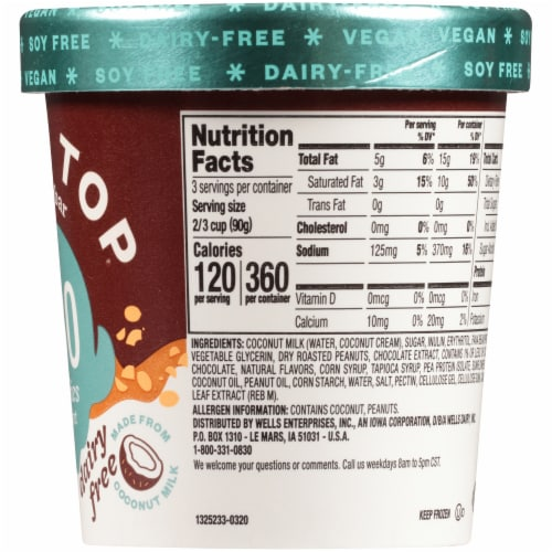 Halo Top Dairy-Free & Soy-Free Vegan Candy Bar Frozen Dessert Perspective: right
