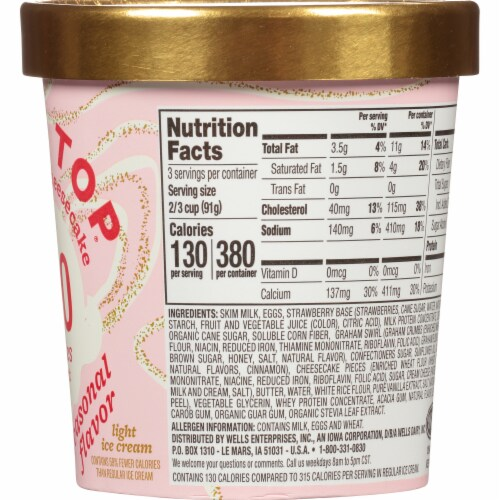 Halo Top Seasonal Strawberry Cheesecake Light Ice Cream Perspective: right