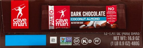 Caveman Dark Chocolate Almond Coconut Bars Perspective: right