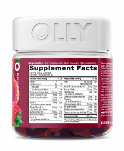 Olly The Perfect Women's Berry Multi-Vitamin Gummies Perspective: right