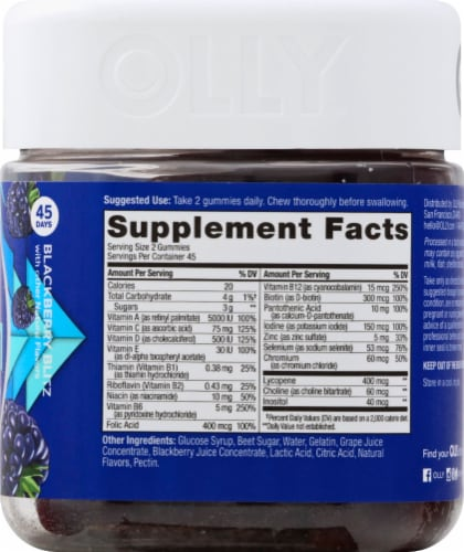 Olly The Perfect Men's Multi Blackberry Blitz Dietary Suplement Gummies Perspective: right